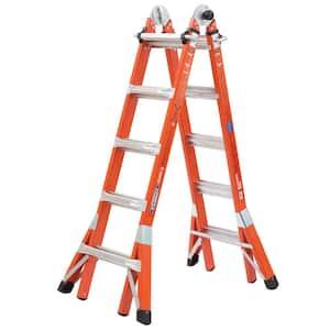 22 ft. Reach Height Multi-Purpose Fiberglass PRO Ladder with 300 lbs. Load Capacity Type IA