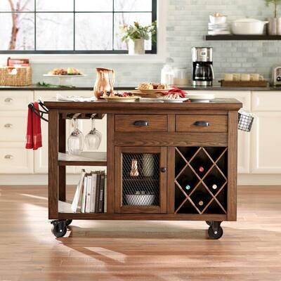 Cooper Rustic Walnut Kitchen Cart with Storage