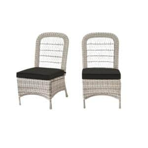 Beacon Park Gray Wicker Outdoor Patio Armless Dining Chair with CushionGuard Graphite Dark Gray Cushions (2-Pack)
