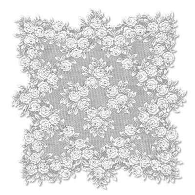 Tea Rose 30 in. W x 30 in. L White Floral Polyester Table Topper
