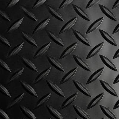 Black Diamond Plate 36 in. x 15 ft. Antimicrobial Vinyl Commercial Floor Matting
