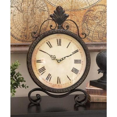 17 in. x 11 in. Round Iron Table Clock