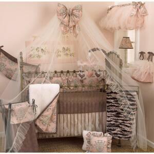 Nightingale 8-Piece Pink and Brown Toile Crib Bedding Set