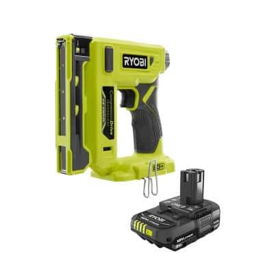 ONE+ 18V Cordless Compression Drive 3/8 in. Crown Stapler with Lithium-Ion 2.0 Ah Compact Battery