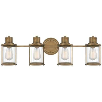 Riggs 4-Light Weathered Brass Vanity Light