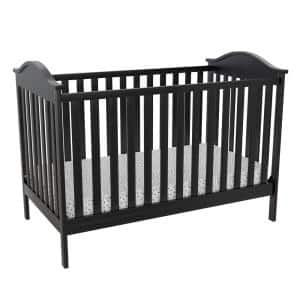 Lacey Black Wood 3-in-1 Convertible Crib