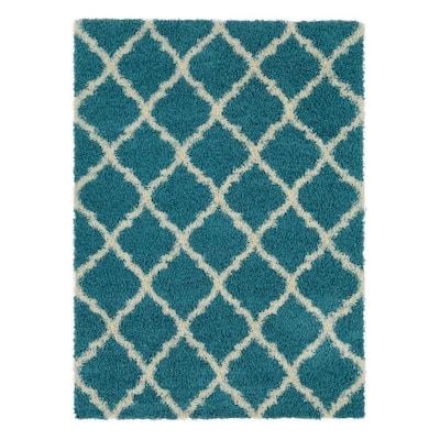Plush Moroccan Trellis Design Turquoise 3 ft. x 5 ft. Shag Area Rug