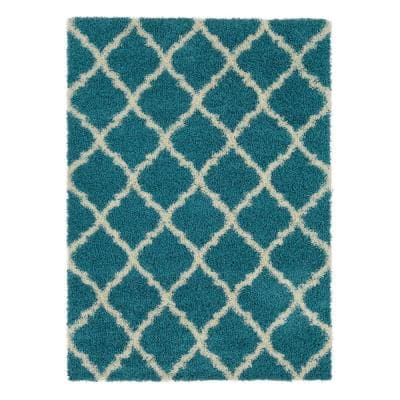 Plush Moroccan Trellis Design Turquoise 5 ft. x 7 ft. Shag Area Rug