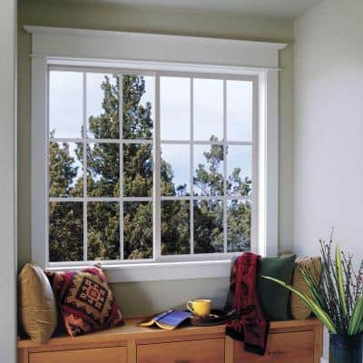 48 in. x 36 in. V-2500 Series Bronze FiniShield Vinyl Right-Handed Sliding Window with Colonial Grids/Grilles