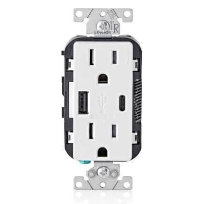 15 Amp Decora Tamper-Resistant Duplex Outlet with Type A and C USB Charger, White, (2-Pack)