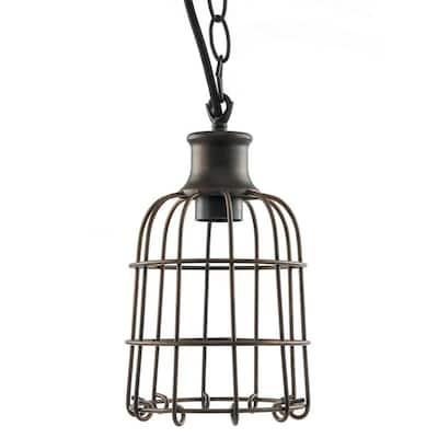 1-Light Iron Rust Open Cage Antique Pendant Fixture