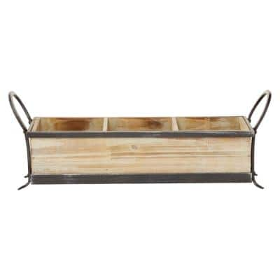 Rustic 3-Compartment Brown Decorative Tray