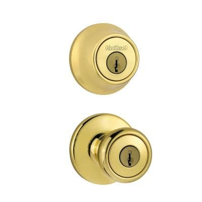 Tylo Polished Brass Entry Door Knob and Double Cylinder Deadbolt Combo Pack with Microban Antimicrobial Technology
