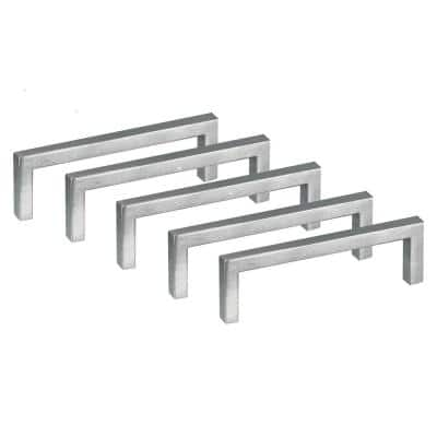 Portico 4-1/16 in. (96 mm C-C) Square Stainless Steel Cabinet Pull (5-Pack)