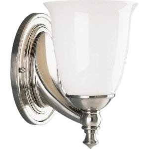 Victorian Collection 1-Light Brushed Nickel White Opal Glass Farmhouse Bath Vanity Light