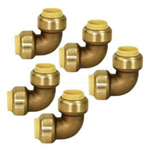 3/4 in. 90-Degree Elbow Pipe Fittings Push to Connect PEX Copper, CPVC Brass (5-Pack)