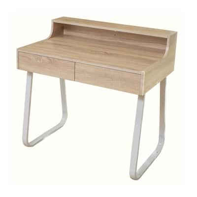 36 in. Rectangular Oak Brown 2 Drawer Secretary Desk with Built-In Storage
