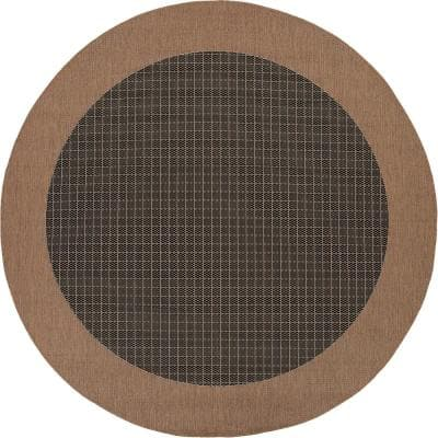 Recife Checkered Field Black-Cocoa 9 ft. x 9 ft. Round Indoor/Outdoor Area Rug