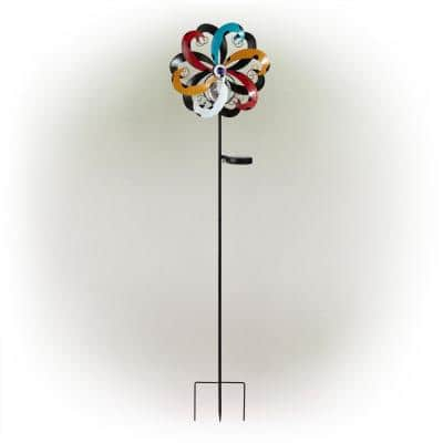 51 in. Tall Outdoor Solar Powered Dual Wind Spinner Stake Yard Decoration, Multicolor