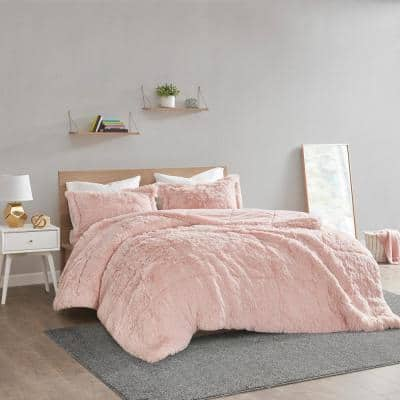 Leena 3-Piece Blush Textured Shaggy Faux Polyester Fur Full/Queen Comforter Set