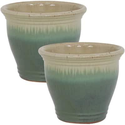 Studio 11 in. Light Green Ceramic Indoor/Outdoor Planter (Set of 2)
