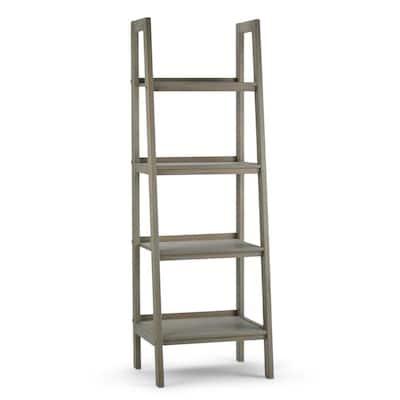 Sawhorse 72 in. H Distressed Gray Wood 4-Shelf Ladder Bookcase