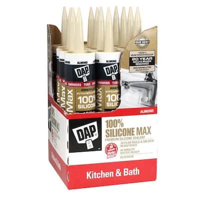 Silicone Max 10.1 oz. Almond Premium Kitchen and Bath Silicone Sealant (12-Pack)