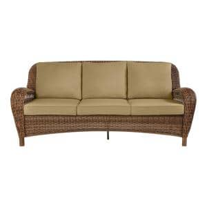 Beacon Park Brown Wicker Outdoor Patio Sofa with CushionGuard Toffee Tan Cushions