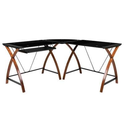 83.3 in. L-Shaped Black/Brown Computer Desks with Keyboard Tray