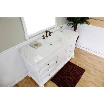 Ashington WH 60 in. Single Vanity in White with Marble Vanity Top in White