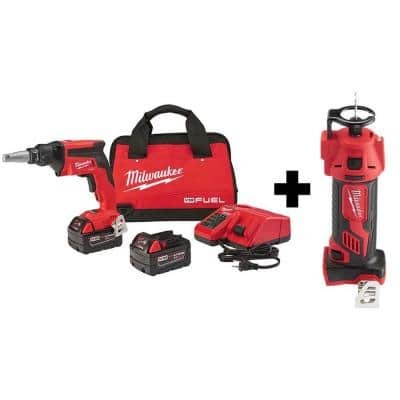 M18 FUEL 18-Volt Lithium-Ion Brushless Cordless Drywall Screw Gun XC Kit with M18 Cut Out Tool