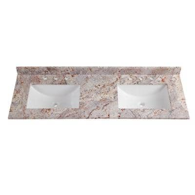 61 in. W x 22 in. D Stone Effects Double Vanity Top in Rustic Gold with White Sinks