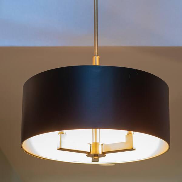 Dsi Hamilton Collection 3 Light Black, Black And Gold Pendant Lamp Shade