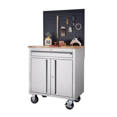 Basics 31 in. 1-Drawer Workbench with Pegboard