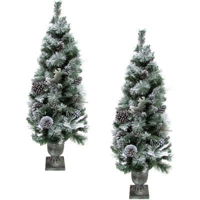 Christmas Snow Flocked Porch Trees, Green (Set of 2)