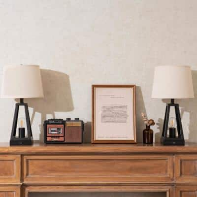 21 in. Black Table Lamp with USB Outlets with 4-Watt LED Bulbs Included (Set of 2)