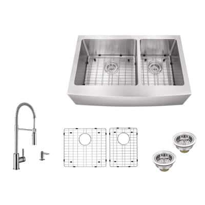 All-in-One Farmhouse Apron Front 16-Gauge Stainless Steel 33 in. 60/40 Double Bowl Kitchen Sink with Pull Down Faucet