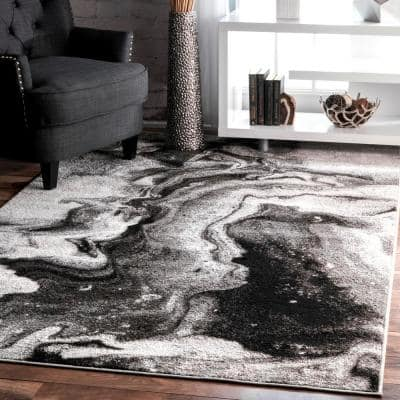 Remona Abstract Black & White 8 ft. x 10 ft. Area Rug
