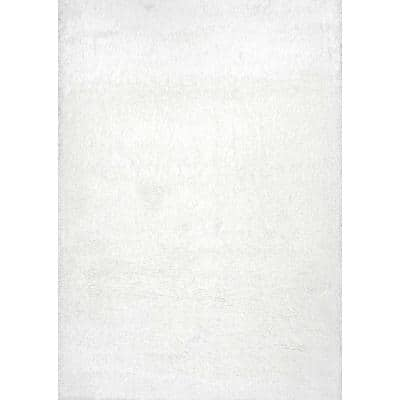 Gynel Solid Shag Snow White 5 ft. x 8 ft. Area Rug