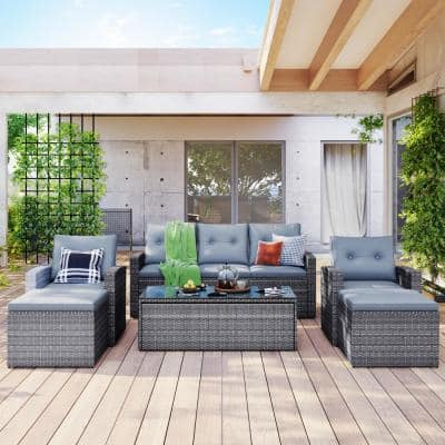 Gray 6-Pieces Wicker Outdoor Conversation Sectional Set with Gray Cushions