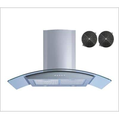 36 in. Wall Mount Convertible Range Hood in Stainless Steel and Glass with Illuminated Push Button and Carbon Filters