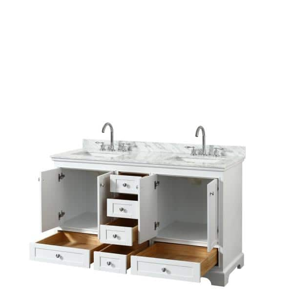 Wyndham Collection Deborah 60 In W X 22 In D Vanity In White With Marble Vanity Top In Carrara White With White Basins Wcs202060dwhcmunsmxx The Home Depot