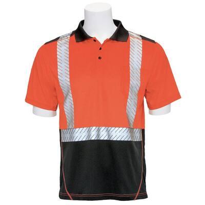9100SBSEG Men's XL High Visibility Orange Moisture Wicking Polo Shirt