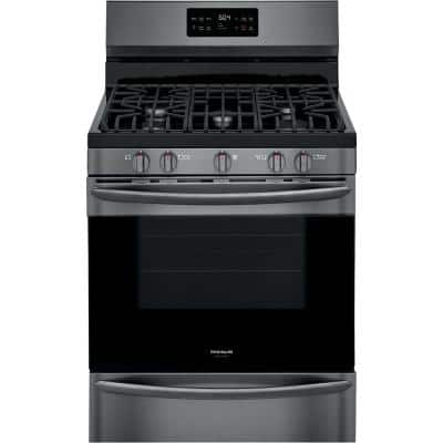 30 in. 5.0 cu. ft. Freestanding Gas Range with Steam Clean in Black Stainless Steel