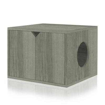 Gray 23.2 in. W x 16.9 in. H zBoard Paperboard Enclosed Cat Litter Box Concealment with Side Hole