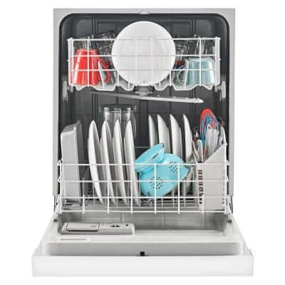 24 in. White Front Control Built-In Tall Tub Dishwasher with Triple Filter Wash System, 63 dBA
