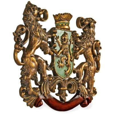 22.5 in. x 30.5 in. Heraldic Royal Lions Coat of Arms Wall Sculpture