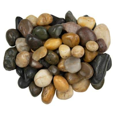 Mixed Polished 0.5 cu. ft . 0.75 to 1.25 in. Pebbles. 40 lb. Bag (55 Bags / Pallet)