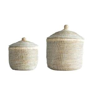 Fleur De Sel Round Woven Seagrass Decorative Basket with Lids (Set of 2)