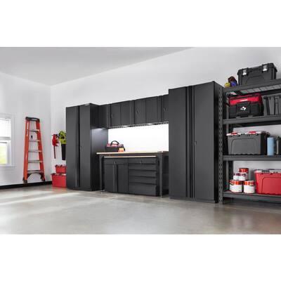 8-Piece Heavy Duty Welded Steel Garage Storage System in Black (156 in. W x 81 in. H x 24 in. D)